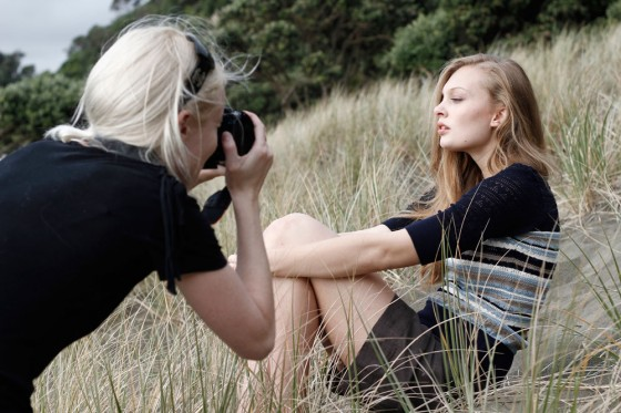 Esther Cronin being shot at Piha.